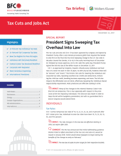 cover of the Tax Cuts and Jobs Act special report