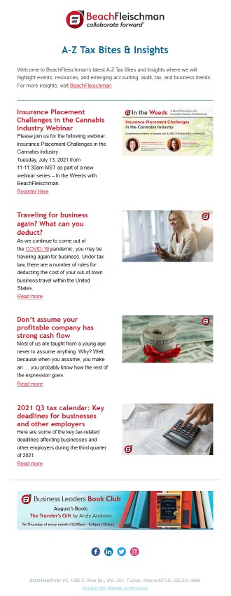 example of previous newsletter issue